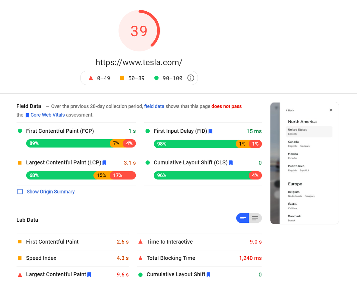 Tesla website gets 39 by PageSpeed insight benchmark